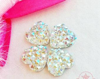12mm Heart Crystal AB Glittery Acrylic Special Effect Rhinestones ~ Q1-13