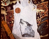 The OLD STYLE Wolf Tank. Wild and Free. Eco Friendly, Hand-Made, Tribal Inspired Clothing, Hand-Printed Tank Top. Organic Yoga Fashion.