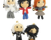 Harry Potter 5 Set String Doll Key-ring Harry the Little Boy Wizard Characters Hermione, Dumbledore, Lucius Malfoy, Hagrid, Harry,