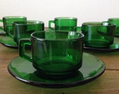 Vintage Vereco Emerald Green Cups & Saucers Set Of Six Made In France - 60's French kitchenware