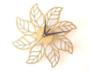 "Wooden wall clock  - ""LEAFS"""