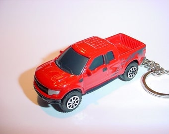 3D 2010 Ford F-150 Raptor truck custom keychain by Brian Thornton keyring key chain finished in bright red 4x4 racing trim pick up offroad