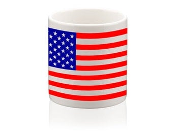 Ceramic mug printed with American Stars and Stripes flag design