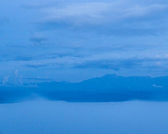 Before Sunrise Ecuador Volcanoes and Fog, Blue Theme Horizontal Panoramic Fine Art Landscape Photography, Large Wall Art
