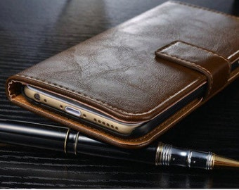 Brown leather iPhone 6/6S case + Free Screen Protector