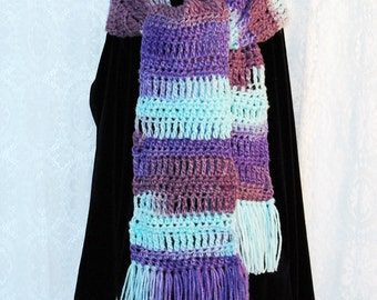 Crochet Straight Scarf with Fringe Fluorite Stripes