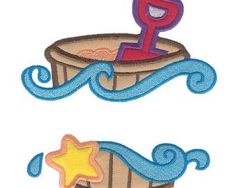 Summer Beach Bucket or Pail Split Applique Machine Embroidery Design