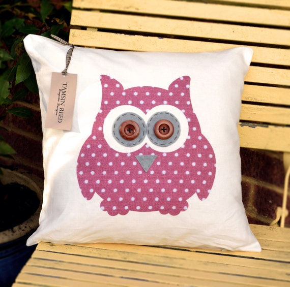 "HALF PRICE! Owl Cushion - Pink Polka Dot , Floral, Green Polka Dot, Tartan ""The Owls of Hoot"" Collection, Tamsin Reed Designs"