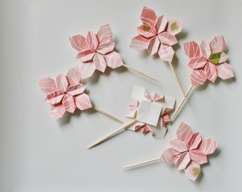 12 Origami Flower Cake Toppers.Pink.Origami toppers.Cupcake picks.Origami picks.Wedding cake toppers.flower picks.pie picks.Party toppers.