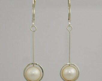 Sterling Silver Framed Pearl Drop Earrings