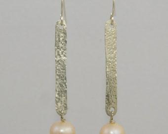 Sterling Silver Hammered Drop Pearl Earrings