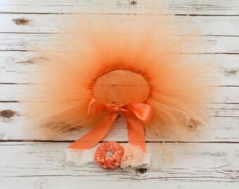 Peaches and cream tutu ,Peaches and cream headband , Newborn tutu with matching headband