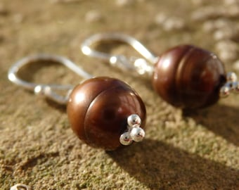 Brown Pearl Earrings, Freshwater Pearl Earrings, Pearl Earrings, Pearl Earring Drops, Silver Earrings