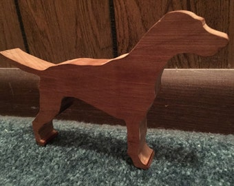 Small Solid Wooden Dog Figurine