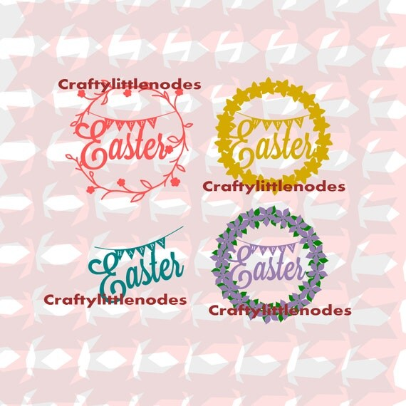 Happy Easter Spring Wreath SVG INSTANT DOWNLOAD cricut explore, silhouette cameo, scal cutters, commercial use