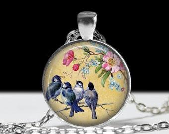 Bird Jewelry Blue Birds on a Branch Pendant Wearabel Art