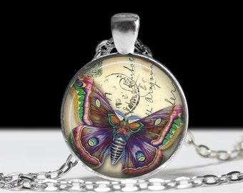 Butterfly Pendant Purple Butterfly Jewelry Wearable Art Butterfly Necklace Butterfly Jewelry Charm