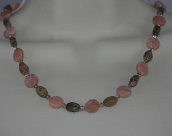Peach Aventurine, Unakite, Swarovski Crystal Necklace