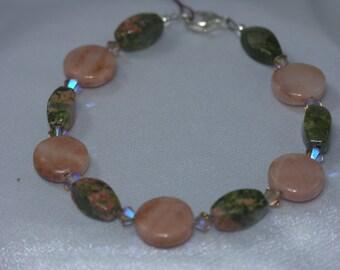 Peach Aventurine,  Unakite, Swarovski Crystal Bracelet