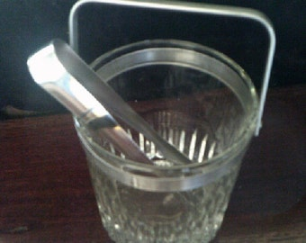 Crystal Glass Ice Bucket with original Tongs