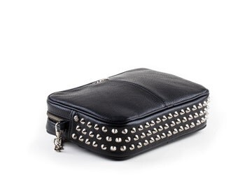 Leather bag with silver studs