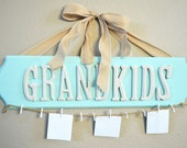 Hanging Grandkids sign with close pins for pictures, perfect gift for grandma or grandpa! Grandparents wooden plaque.