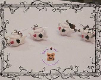 Alice clay teapot earrings