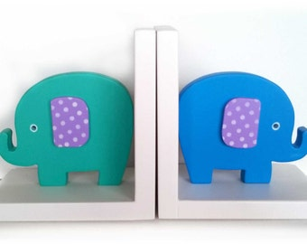Bookend Elephant, Kids Bookends, Nursery Decor, Kids room, children's room decor, children's bookends, wooden bookends, baby shower gift