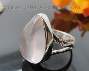 Rose Quartz Ring , Sterling Silver Ring , Gemstone Ring
