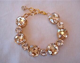 Swarovski Crystal Champagne Cushion Cut Bridal Bracelet, champagne crystal wedding bracelet, bridesmaid Bracelet, cushion cut bracelet