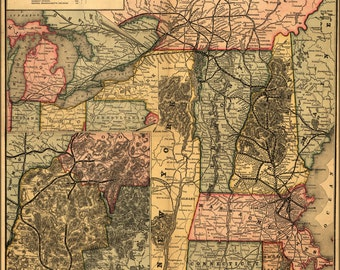 24x36 Poster; Map Of Boston & Lowell Railroad New England 1890
