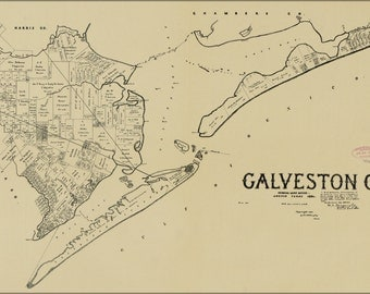 24x36 Poster; Map Of Galveston Co. Texas 1892