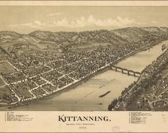 24x36 Poster; Map Of Kittanning, Pennsylvania 1896