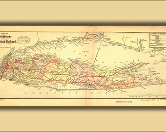 24x36 Poster; Map Of Long Island With Long Island Railroad 1884