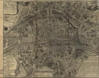 24x36 Poster; Map Of Paris France 1705