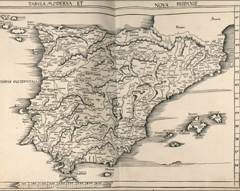 24x36 Poster; Map Of Spain And Portugal 1513