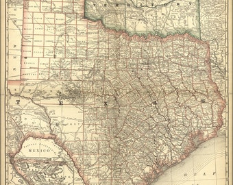 24x36 Poster; Map Of Texas & Indian Territory Oklahoma 1881