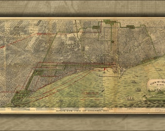 24x36 Poster; Birdseye View Map Of Chicago, 1893