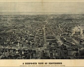 24x36 Poster; Birdseye View Map Of Providence Rhode Island 1895