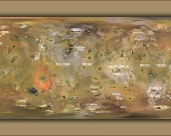 24x36 Poster; Map Of Jupiter Moon Io Created From Voyager And Galileo Imagery