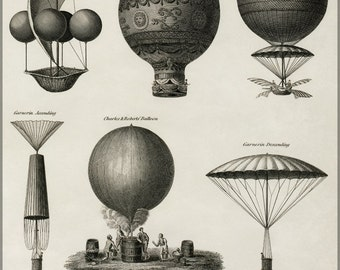 24x36 Poster; Early Hot Air Balloons C1818