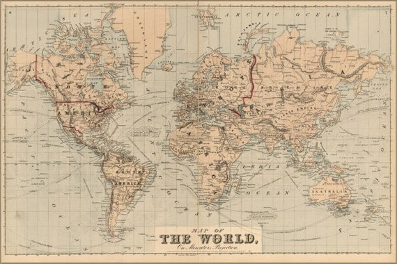 24x36 Poster Map Of The World 1875