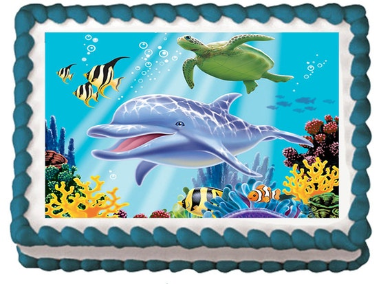 Dolphin Friends Ocean Edible Birthday Party Cake Cupcake