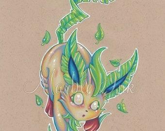 Vibrant Leafeon, Pokemon art print