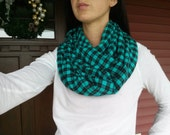 Teal Flannel Infinity Scarf