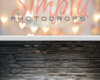 Bokeh Hearts  and Dark Wood Floor ALL IN ONE vinyl Photography Backdrop