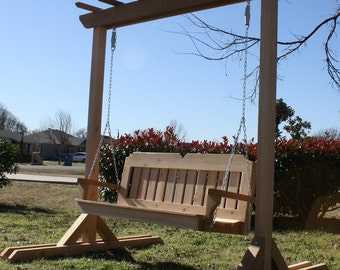 Brand New Large Freestanding Cedar Garden Entry Arbor & 4 Foot Porch Swing with Hanging Chain - Free Shipping