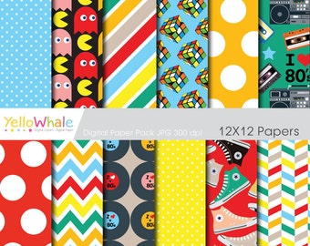 Digital Paper - 80's Party for scrapbooking paper crafts invitations making cards - only FOR PERSONAL USE
