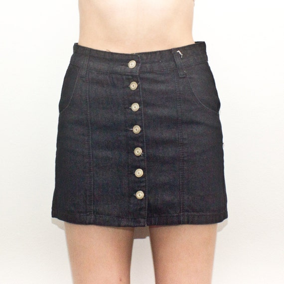 piper skirt black high waisted button up denim by