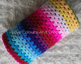 Happy Colours Striped Afghan Baby Blanket Crochet